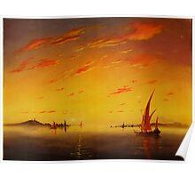 Ships on Sunset Poster
