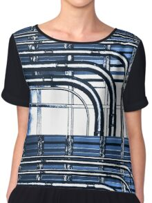 Industrial Pipes High Contrast in Blue Tones Chiffon Top