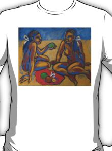 Two Women On The Beach - Femal Nude T-Shirt