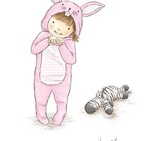 Onesie Rabbit Girl - Greeting Card by Amanda Francey
