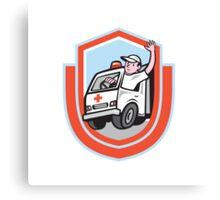 Ambulance Emergency Vehicle Driver Waving Shield Cartoon Canvas Print