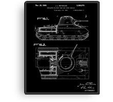 Tank Patent - Black Canvas Print