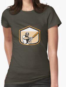 Cricket Player Batsman Batting Shield Cartoon Womens Fitted T-Shirt