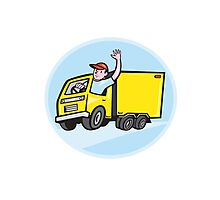 Delivery Truck Driver Waving Cartoon Photographic Print