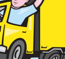 Delivery Truck Driver Waving Cartoon Sticker