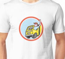Delivery Truck Driver Waving Circle Cartoon Unisex T-Shirt