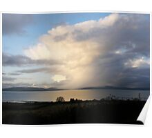 Mystical Sweeping rain shower over lough Foyle, Derry, Ireland. Poster