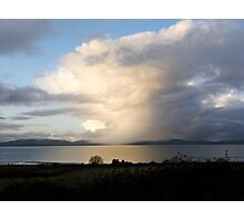 Mystical Sweeping rain shower over lough Foyle, Derry, Ireland. Photographic Print