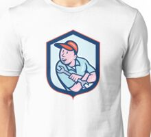 Mechanic Spanner Wrench Shield Cartoon Unisex T-Shirt