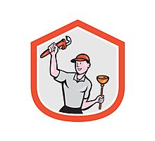 Plumber Wielding Wrench Plunger Cartoon Photographic Print