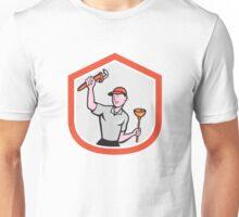Plumber Wielding Wrench Plunger Cartoon Unisex T-Shirt