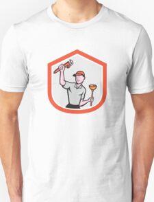Plumber Wielding Wrench Plunger Cartoon T-Shirt