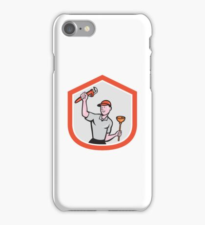Plumber Wielding Wrench Plunger Cartoon iPhone Case/Skin