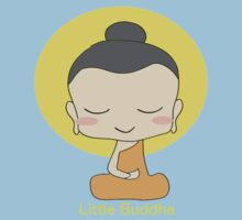 Little Buddha - black background & yellow writing  Kids Tee