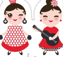 Flamenco girls with fans and guitars Sticker