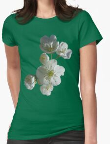 cherries in blosssom on green flash Womens Fitted T-Shirt