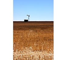 Windmill In Stubble Photographic Print