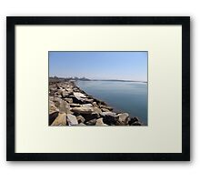 Rock Wall at Urunga Framed Print