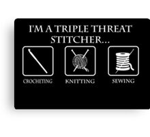 Triple Threat Stitcher White Canvas Print