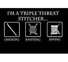Triple Threat Stitcher White Photographic Print