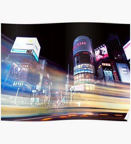 Colorful light trails at night in Ginza Tokyo art photo print Poster