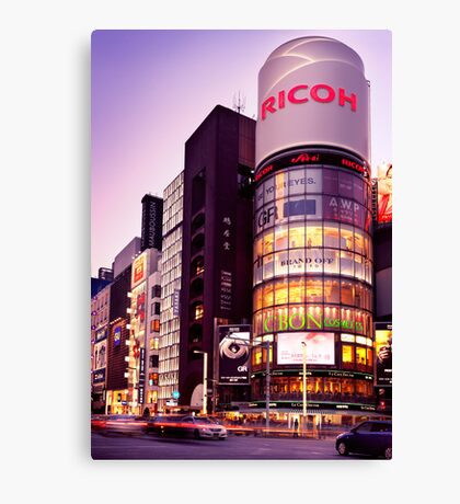 Ricoh building and colorful signs at twilight in Tokyo art photo print Canvas Print
