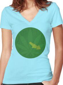 420 clock Women's Fitted V-Neck T-Shirt