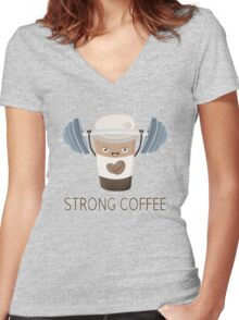 Strong Coffee Women's Fitted V-Neck T-Shirt