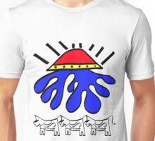 BLACK OUTLINE ALIEN ABDUCTION Unisex T-Shirt