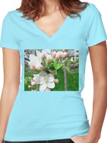 Apple flowers Women's Fitted V-Neck T-Shirt
