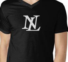 NL White on Black Mens V-Neck T-Shirt