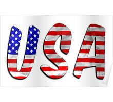 USA Word With Flag Texture Poster