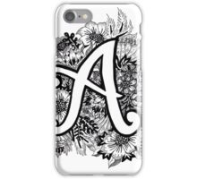 Floral letter 'A' iPhone Case/Skin