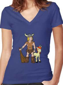 Bobby The Barbarian & Uni The Unicorn Women's Fitted V-Neck T-Shirt