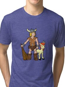 Bobby The Barbarian & Uni The Unicorn Tri-blend T-Shirt