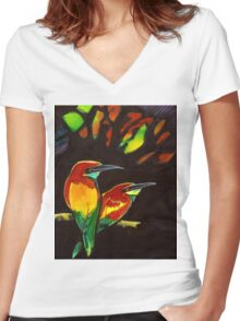 golden kingfisher HR Women's Fitted V-Neck T-Shirt