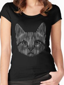 Monochrome Kitty Women's Fitted Scoop T-Shirt