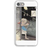 Moon Over A Single Dwelling - Yoshitoshi Taiso - 1880 - woodcut iPhone Case/Skin