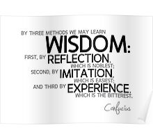 wisdom: reflection, imitation, experience - confucius Poster