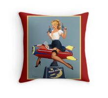 Pin-Up Girl 'Moon Rocket Ride'  Throw Pillow