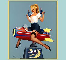 Pin-Up Girl 'Moon Rocket Ride' (blue) by Fiona Stephenson