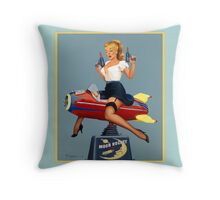 Pin-Up Girl 'Moon Rocket Ride' (blue) Throw Pillow