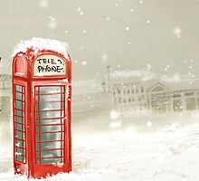 Snowy, London Telephone Box by Owlmail