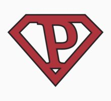 P letter in Superman style T-Shirt