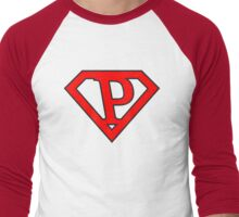 P letter in Superman style Men's Baseball ¾ T-Shirt