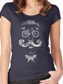 vintage bike face - white Women's Fitted Scoop T-Shirt