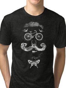 vintage bike face - white Tri-blend T-Shirt