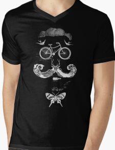 vintage bike face - white Mens V-Neck T-Shirt