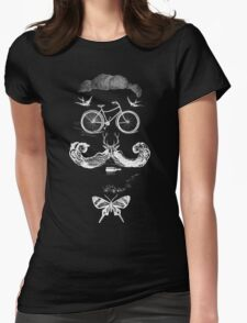 vintage bike face - white Womens Fitted T-Shirt