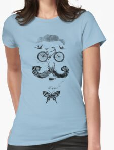 vintage bike face - black Womens Fitted T-Shirt